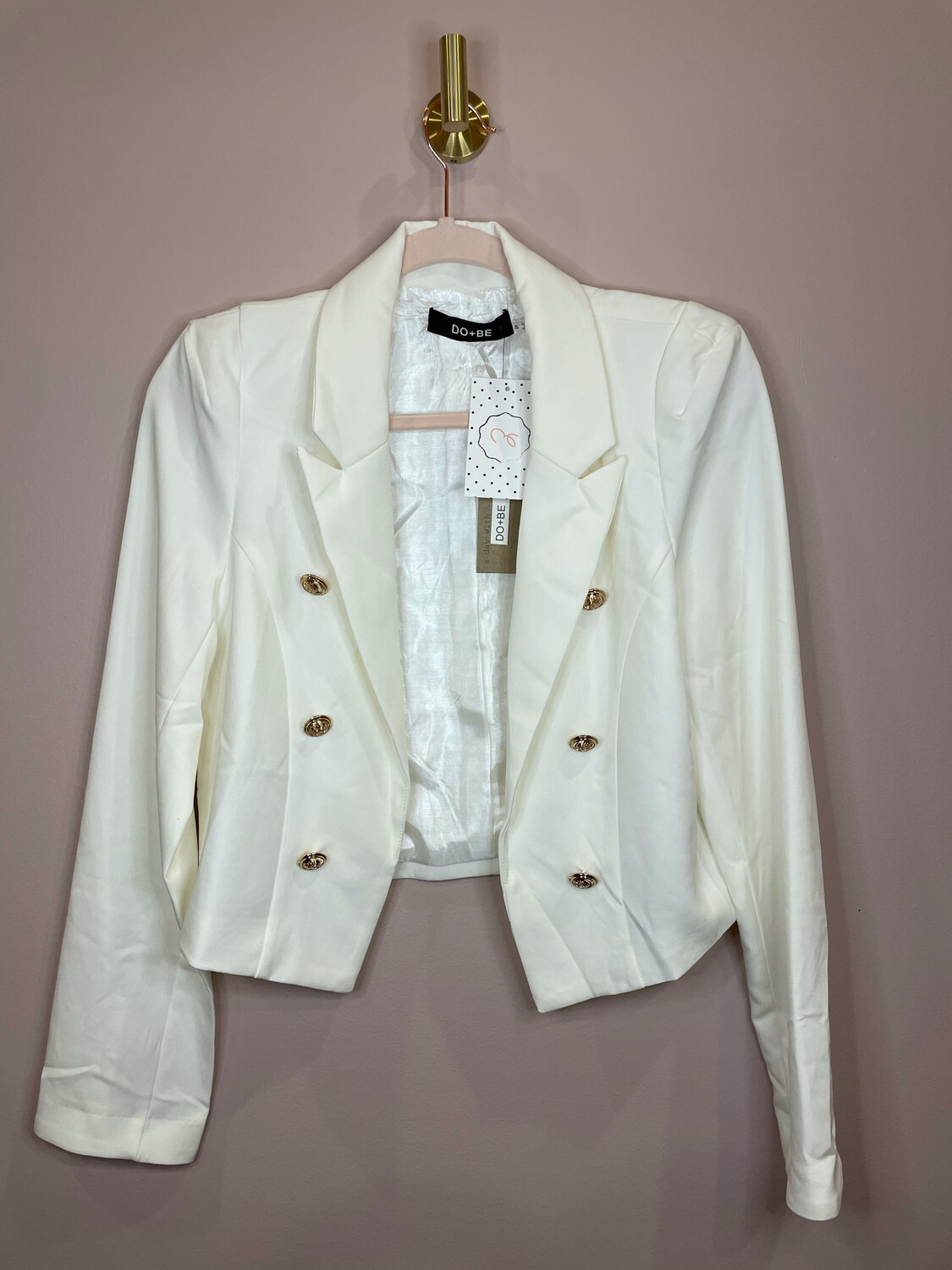 Do + Be White Blazer with Gold Button Accent - S