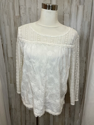 Hinge White Embroidered Sheer Sleeve Top - M