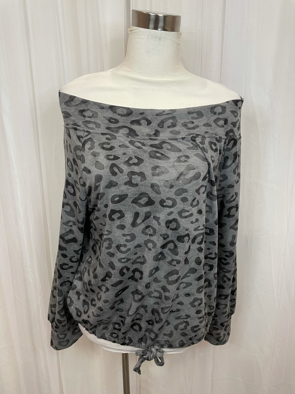 Gilli Grey & Black Leopard Print Drawstring Casual Sweater - S