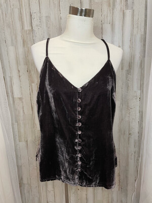 Cupcakes & Cashmere Brown Velvet Button Up Tank - L