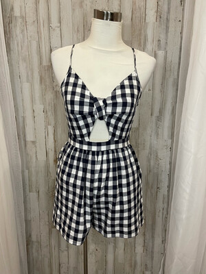 American Eagle Navy & White Plaid Romper - XS