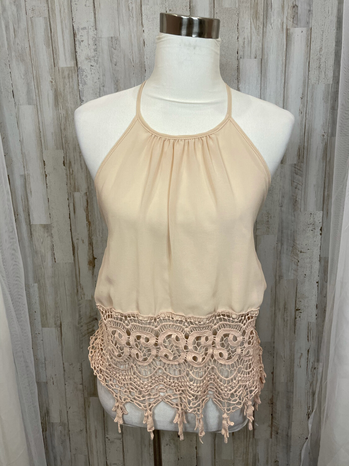 Buttons Tan Halter w/ Embroidered Trim - S
