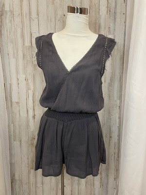 Free People Charcoal Grey Tank Romper - S