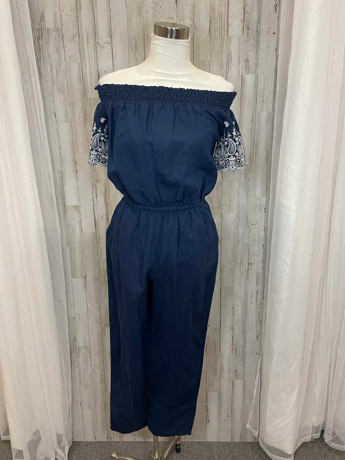 Abercrombie & Fitch Blue Jumpsuit w/ Embroidered Sleeves - S