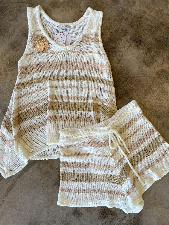 Cozy Casual Knit Striped 2 Piece Lounge Set - M