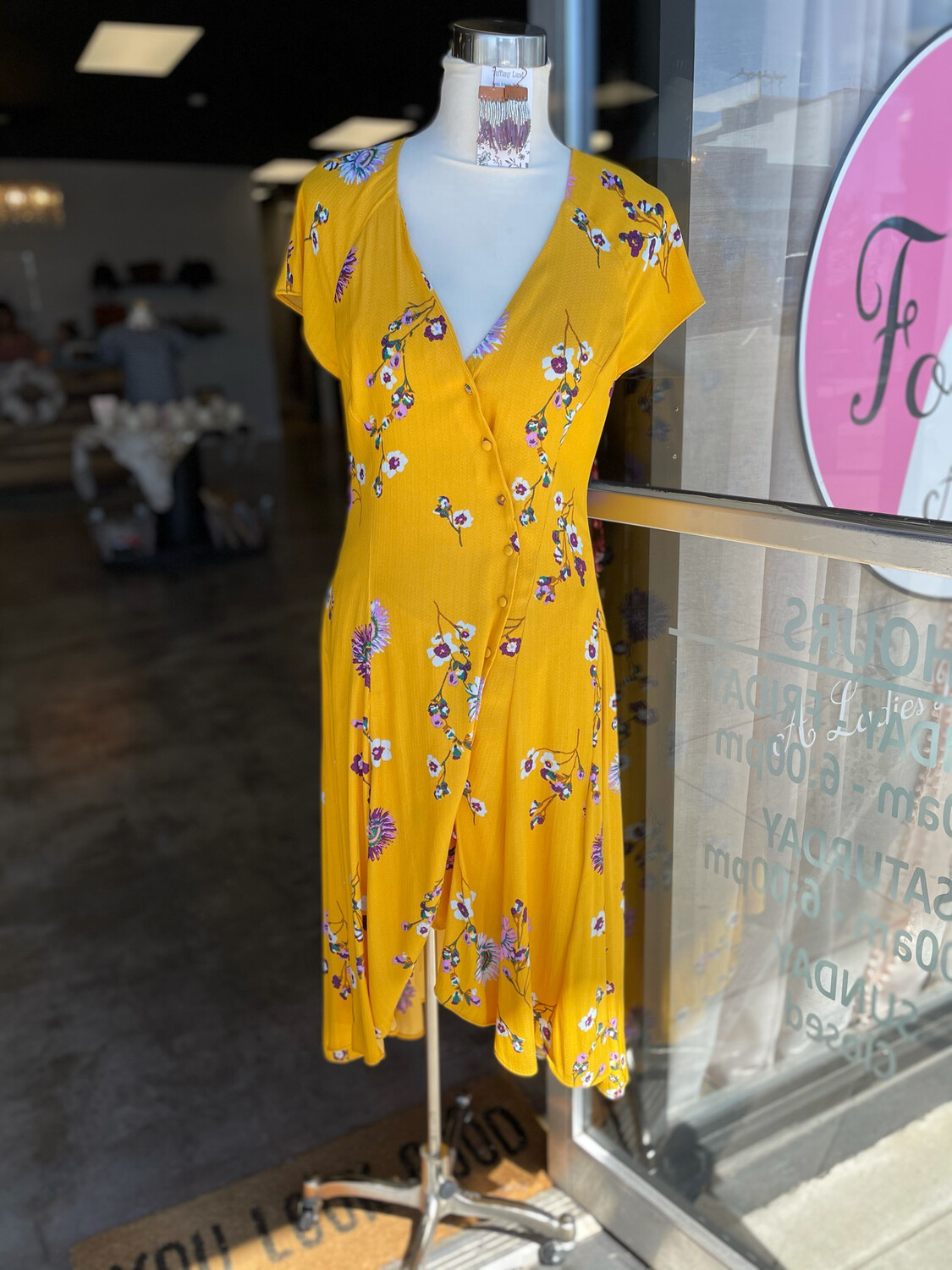 Free People Yellow Floral Button Down High Low Dress - S