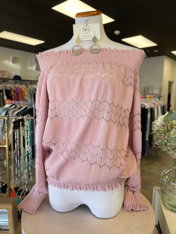 Pink Off Shoulder Long Sleeve Decorative Blouse - S