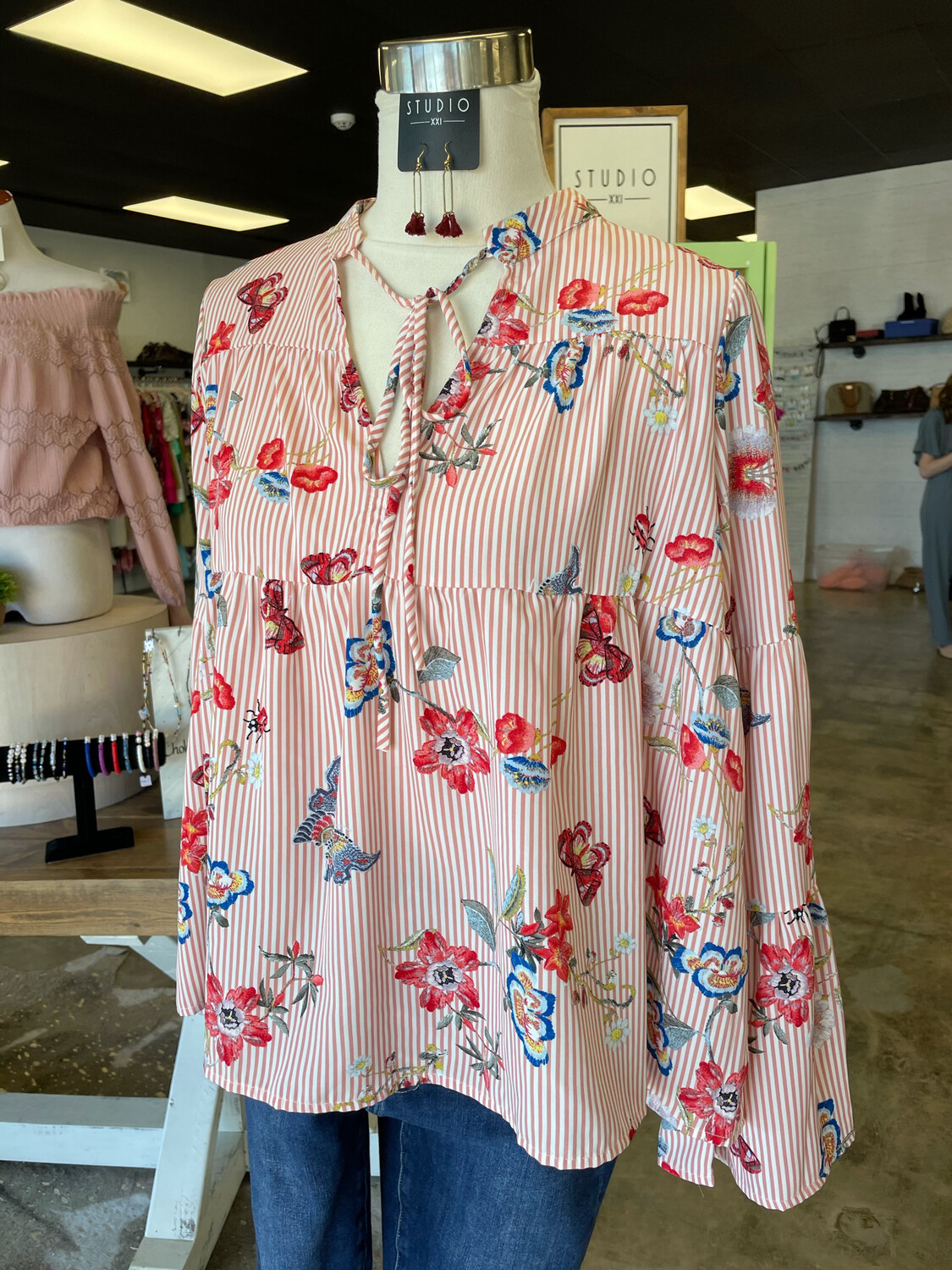 Karlie Dusty Rose Striped Top w/Butterfly & Floral Print - S