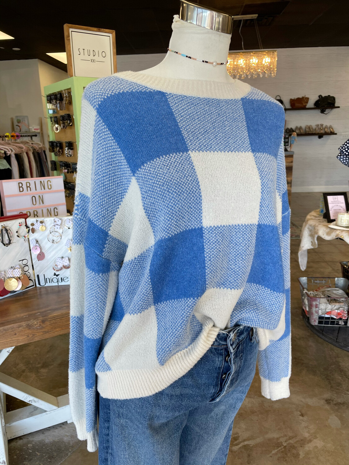 How. Very. Loved Blue & White Oversized Plaid Patterned Sweater - L