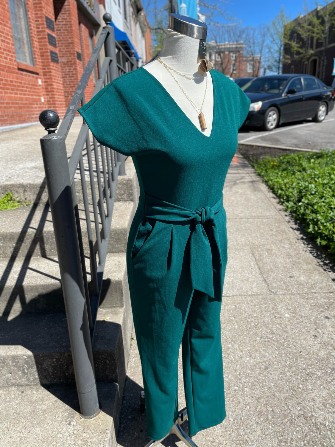 Express Emerald Green Belted Jumpsuit - XS