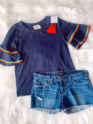 Ella Mara Navy Top with Rainbow Ribbon Accent - XS