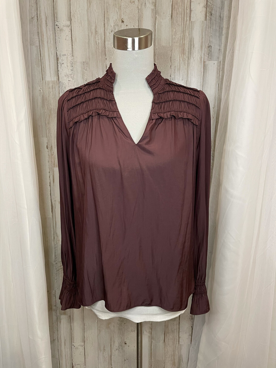 Current Air Plum Smocked Top Blouse - S