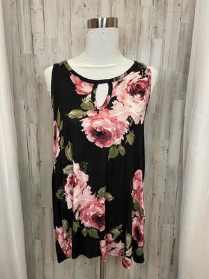 Lela Sky Black & Pink Floral Flow Tank - M