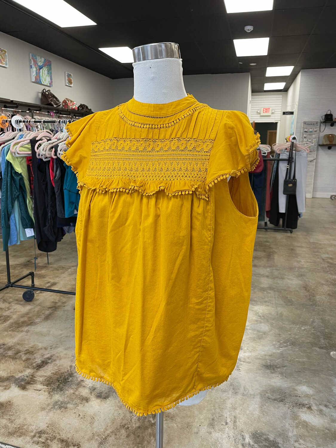 J. Crew Mustard Embroidered Top - L