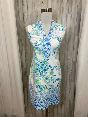 Lilly Pulitzer White and Blue Turtle Dress - XS