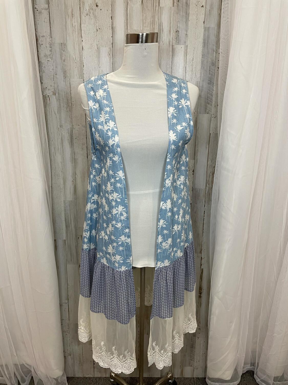 Jodifl Denim Floral Vest with Lace Trim - S