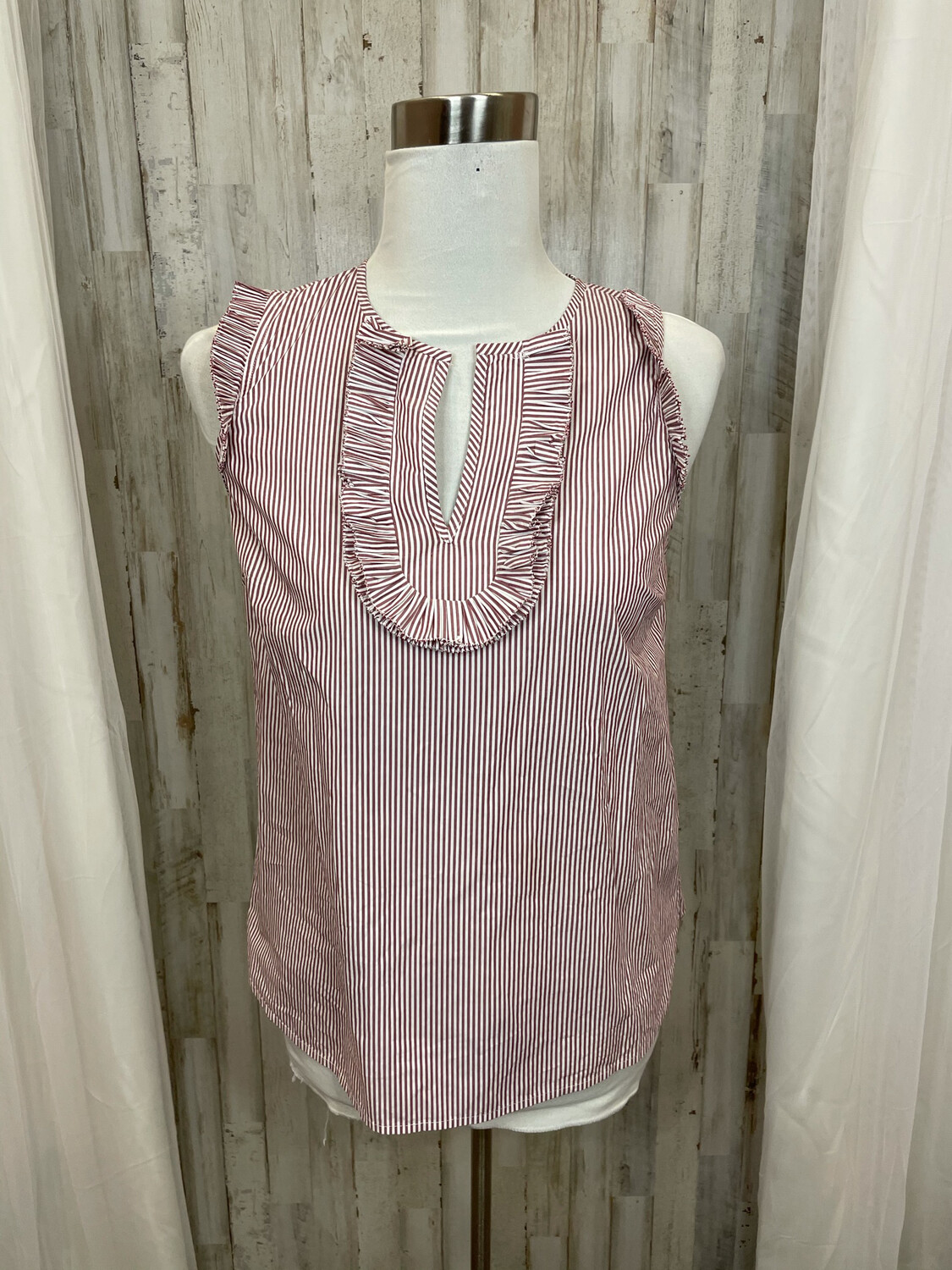 J. Crew Wine Striped Sleeveless Top Ruffled Accent - Size 2