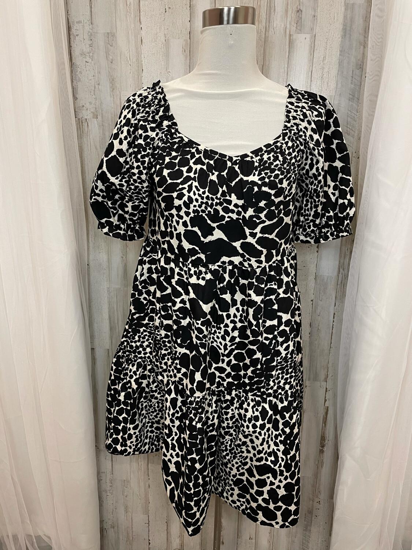 Black & Cream Animal Print Dress with Pockets - S