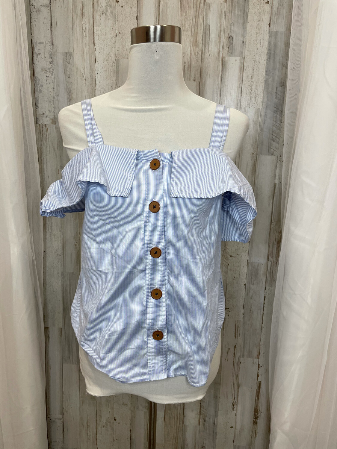 Maeve Blue & White Striped Button Down Off Shoulder Top - Size 4