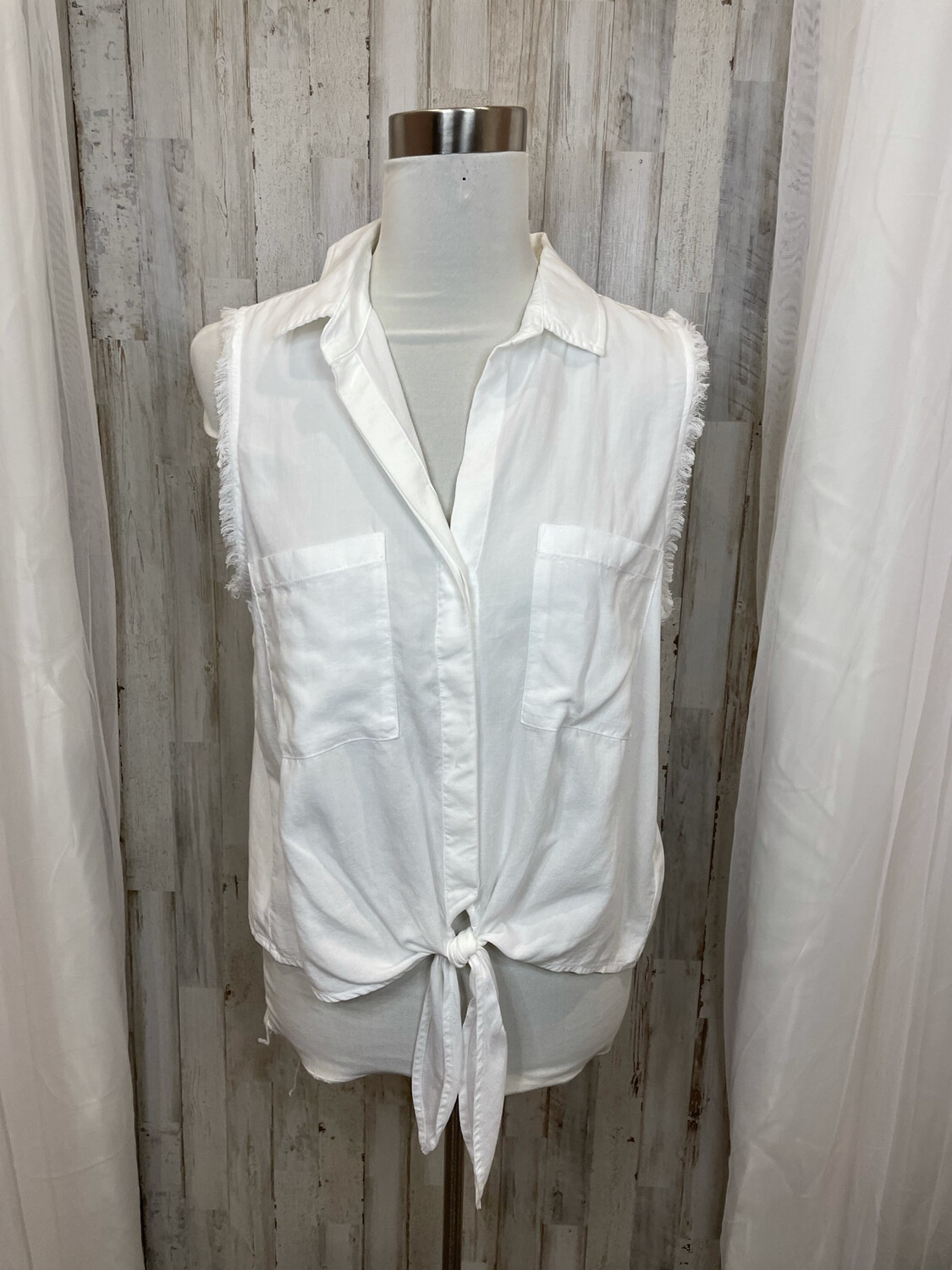 Cloth & Stone White Double Pocket Cutoff Tie Front Button Up - M