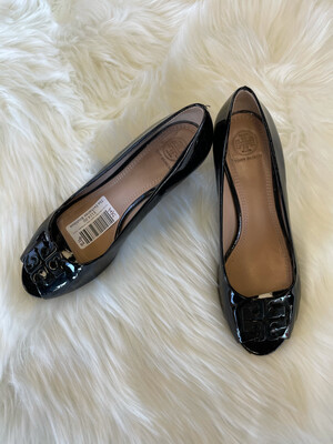 Tory Burch Black Patent Leather Peep Toe Wedges - Size 8