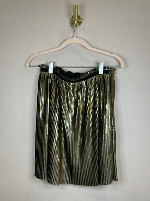 GB Girls Black & Gold Pleated Skirt - L