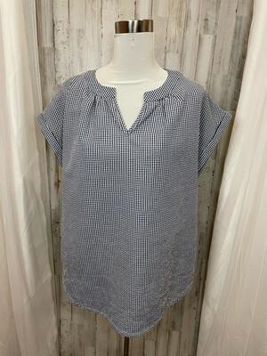 Tiffany Lane Blue & White Gingham Top - L