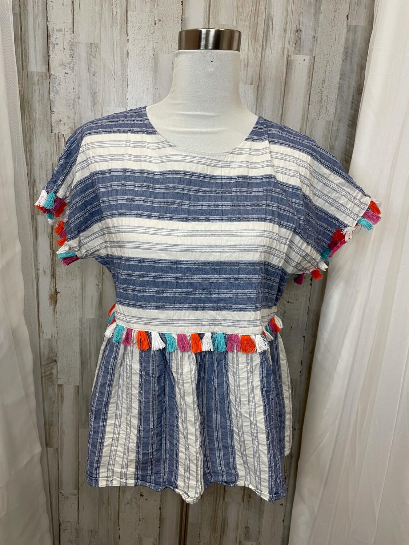 Andree' Blue & White Striped Top w/Multicolor Tassels  - L