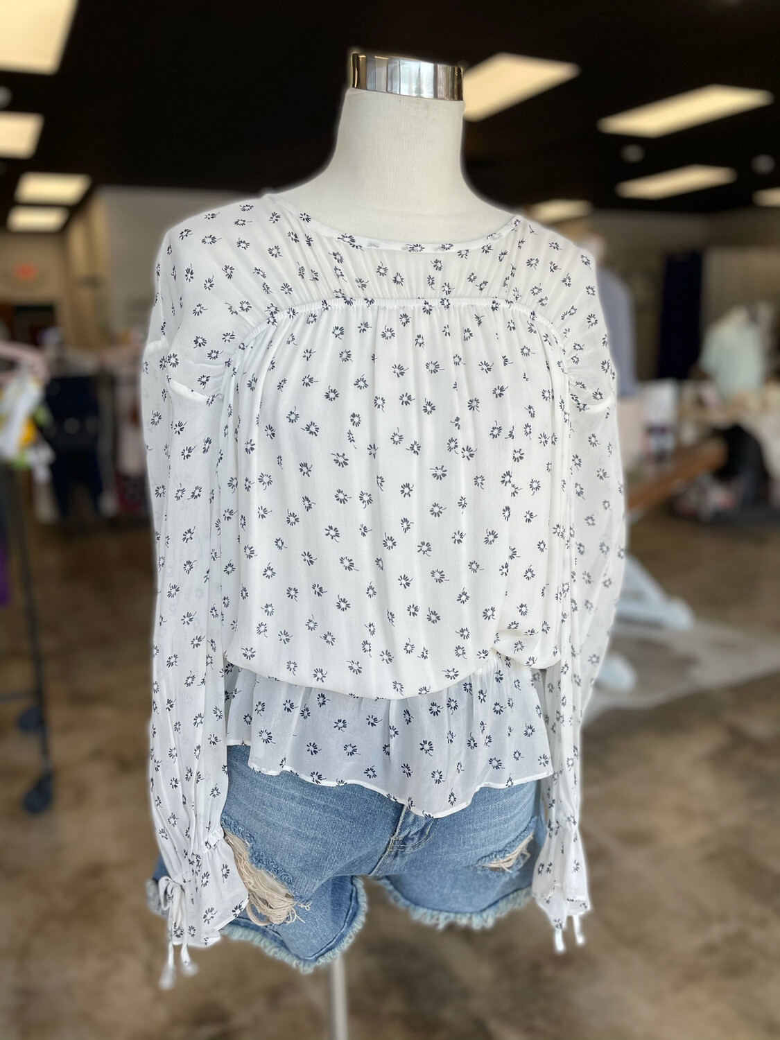 Joie White Blouse w/ Navy Floral Pattern - M