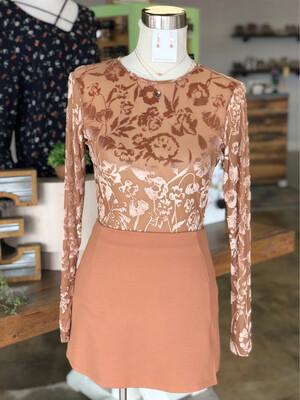 NBD Camel Short Skirt w/ Front Slit - XS