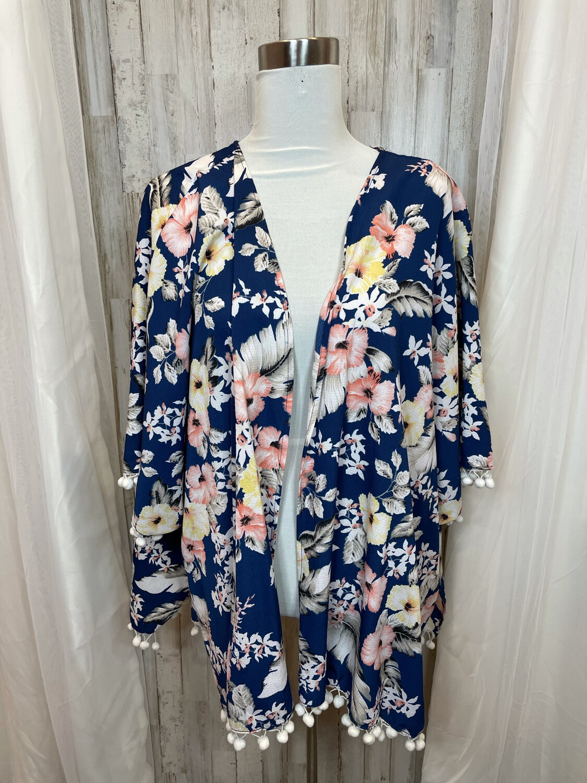 Umgee Blue Floral Kimono w/Tassels - M/L