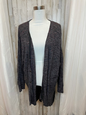 Free People Black Button Up Cardigan w/Multicolor Accent - L