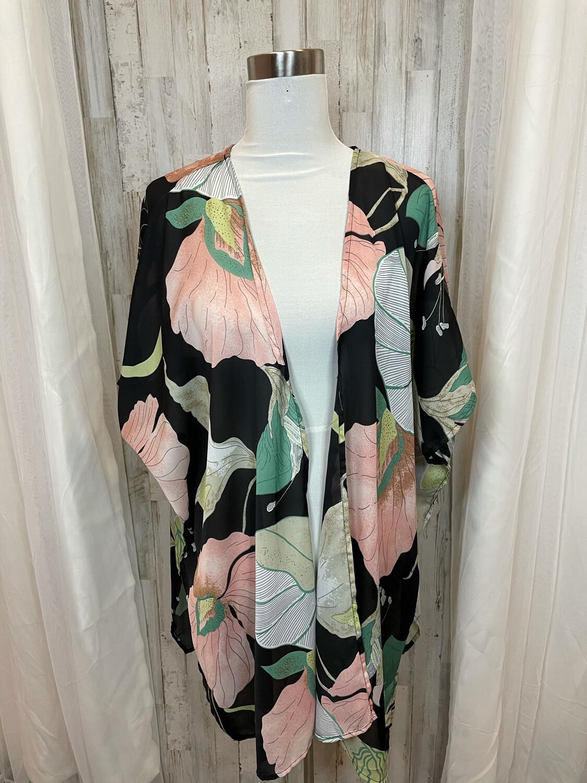 Umgee Black Large Floral Kimono - M/L