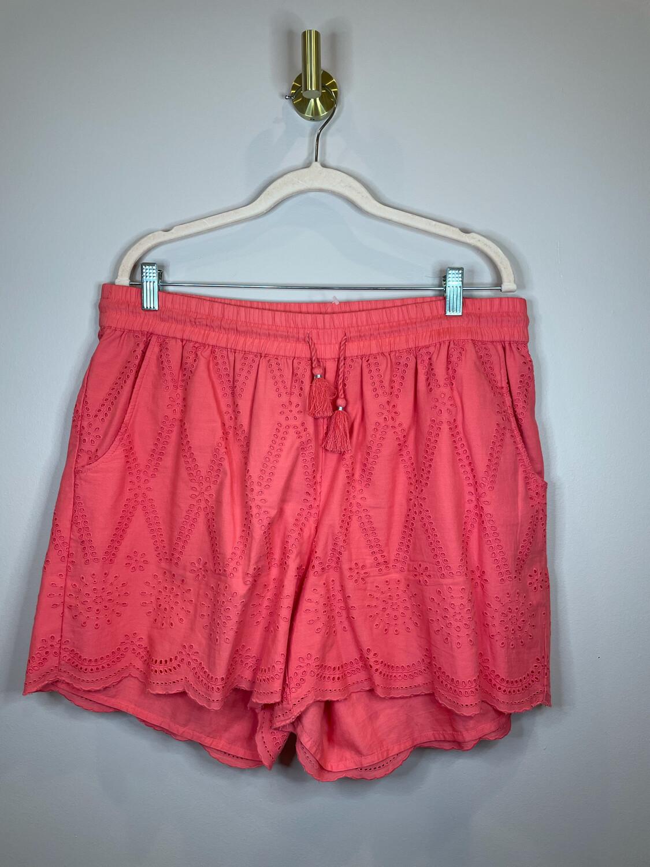 Crown & Ivy Pink Eyelet Shorts w/Tassel Tie - 1x