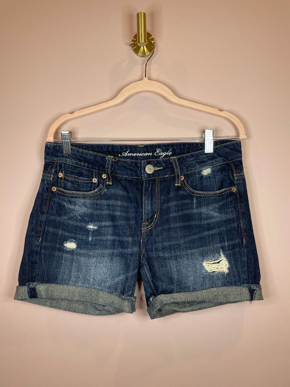 American Eagle Dark Denim Distressed Jean Shorts - Size 4
