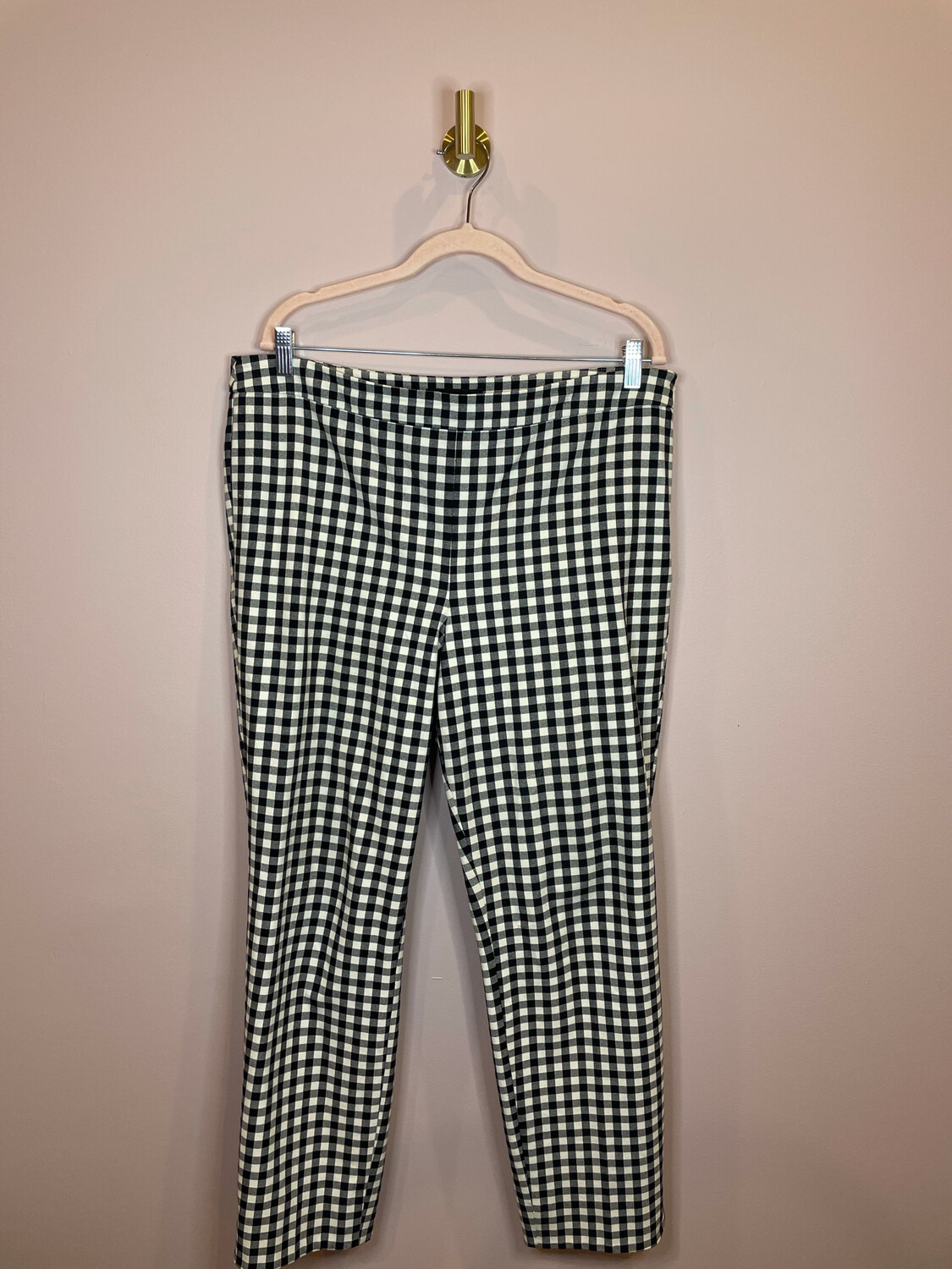Talbots Black & White Gingham Chatham Ankle Pants - Size 14
