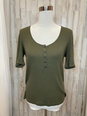 Madewell Olive Button Top - M