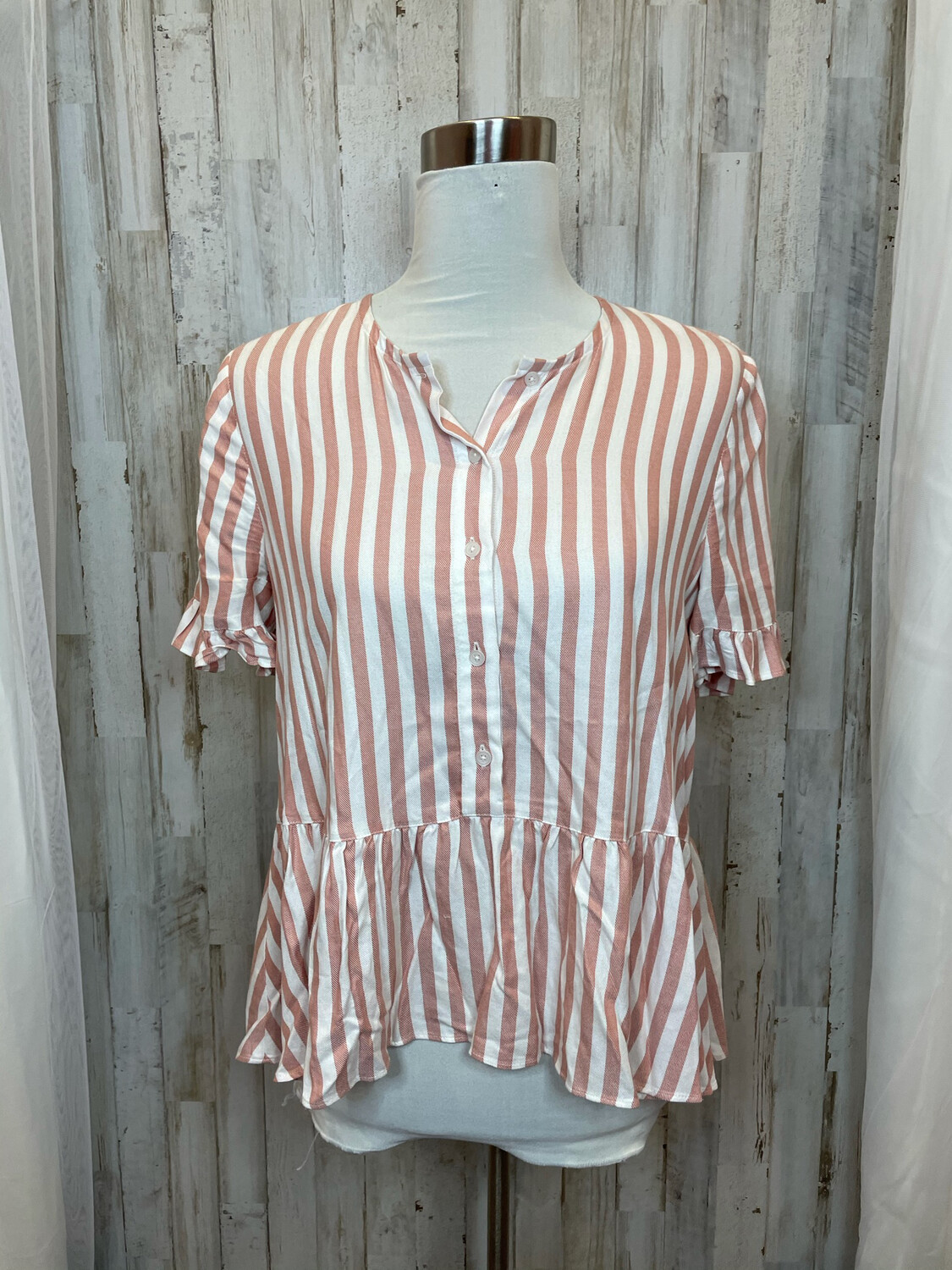 Madewell Dusty Rose & Cream Striped Button Up Top - M