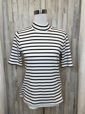 Madewell Black & Cream Striped Top - M