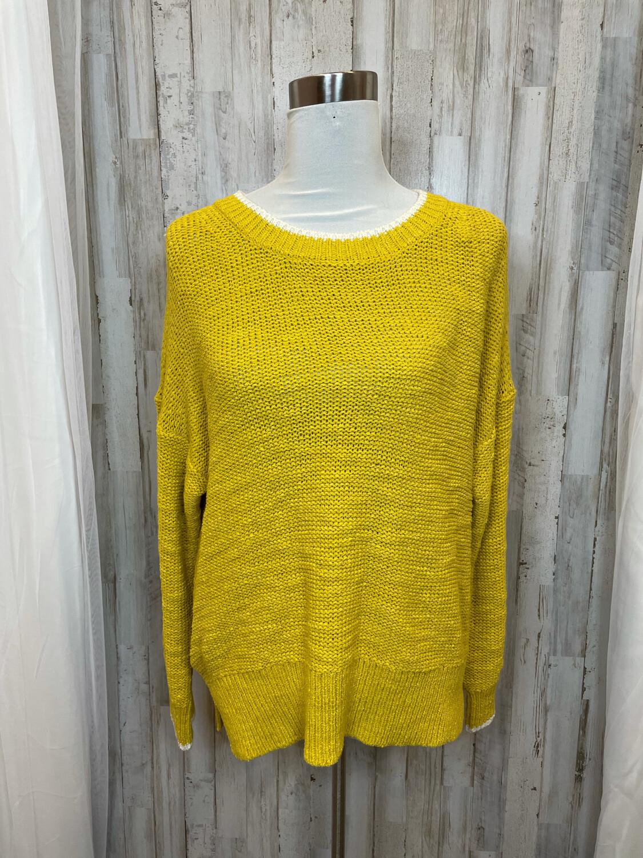 J. Crew Yellow Sweater w/White Trim - L