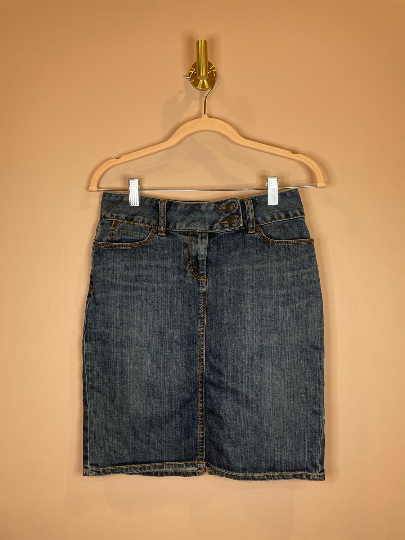 Talbots Denim Skirt w/Button Accent - Size 4P