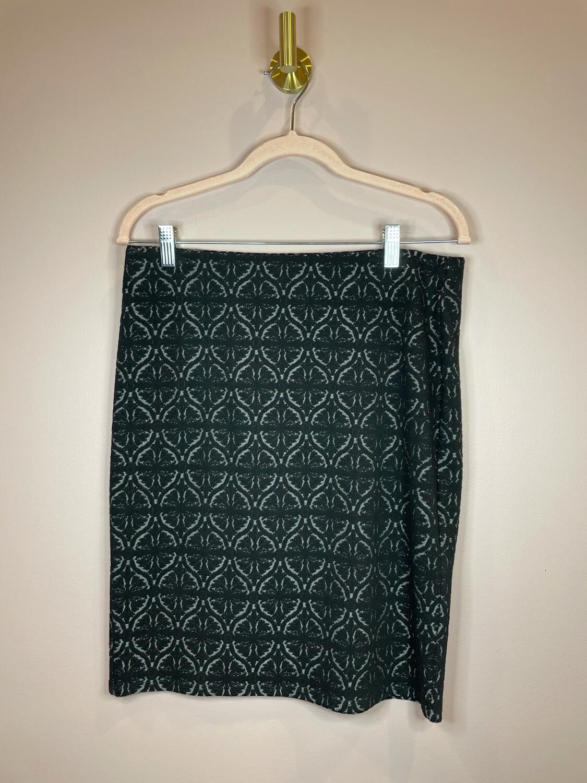LOFT Outlet Black Demask Print Skirt - M