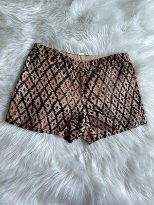 J. Crew Gold & Black Silky Patterned Shorts - Size 4