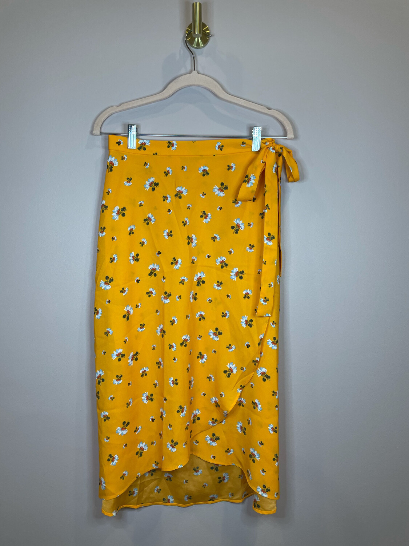 LOFT Orange Floral Wrap Skirt - Size 6