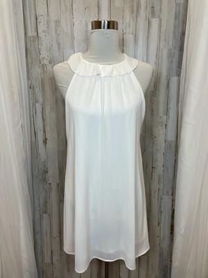 Fab'rik White Dress w/Neckline Ruffle - L