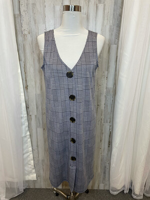 Sweet Claire Black & White Tweed Print w/Buttons - M