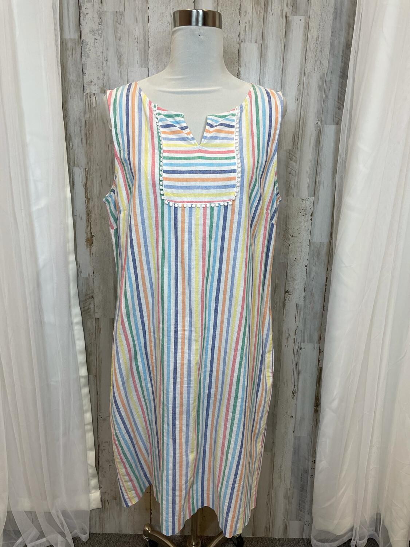 Talbots Multicolor Stripe Dress w/Tassel Accent - Size 16