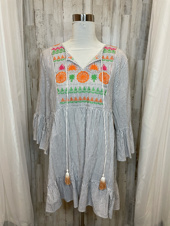 VelZera Gray & White Striped Ruffle Dress Embroidery Accent - L