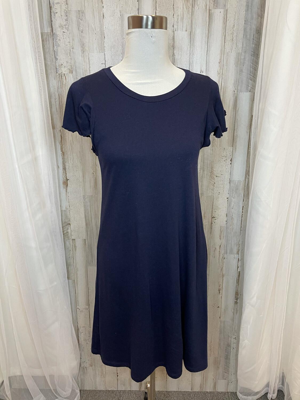 Gap Navy Tee Dress with Ruffled Sleeve - S