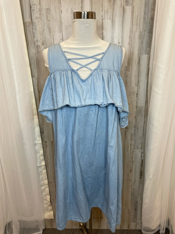 True Craft Chambray  Cold Shoulder Dress - 1X